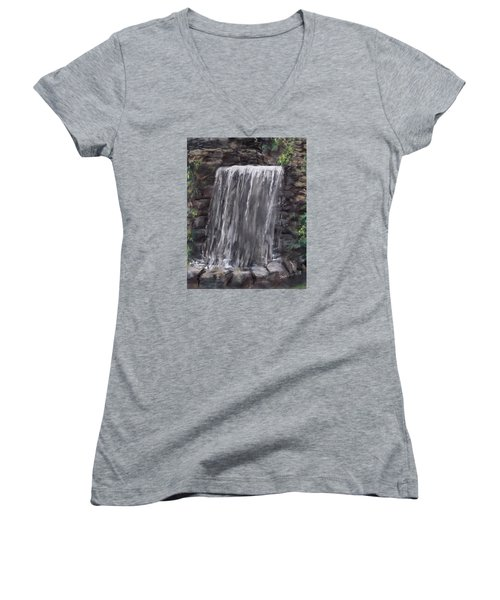 Waterfall At Longfellow's Gristmill Women's V-Neck T-Shirt (Junior Cut) by Jack Skinner