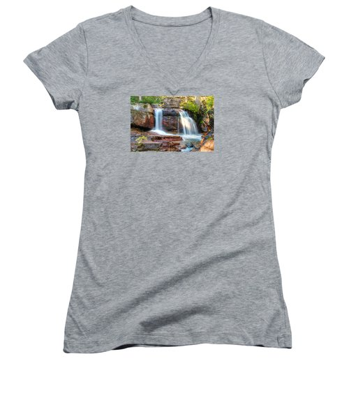 Waterfall Women's V-Neck T-Shirt (Junior Cut) by Gary Lengyel