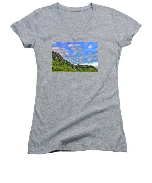 Women's V-Neck T-Shirt (Junior Cut) featuring the photograph Waterfall Hill by Scott Mahon