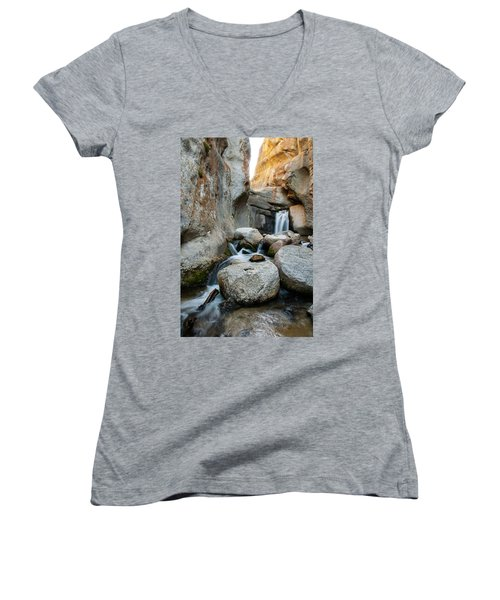 Waterfall In The Buttermilks Women's V-Neck (Athletic Fit)