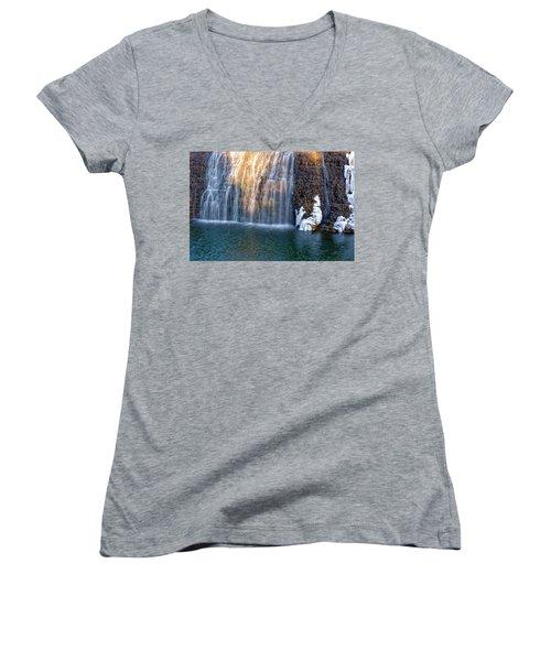 Waterfall In Winter Women's V-Neck