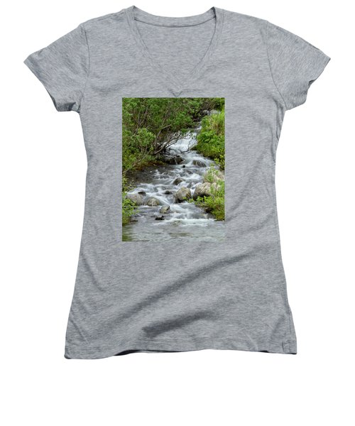 Waterfall Picture - Alaska Women's V-Neck (Athletic Fit)