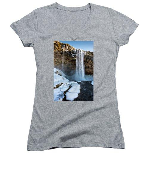 Waterfall Seljalandsfoss Iceland In Winter Women's V-Neck T-Shirt (Junior Cut) by Matthias Hauser