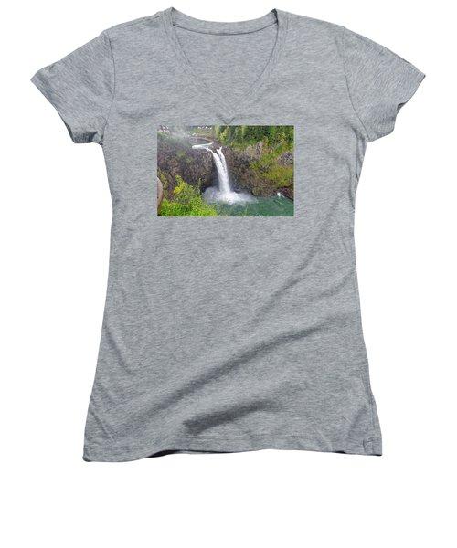 Waterfall Through The Mist Women's V-Neck