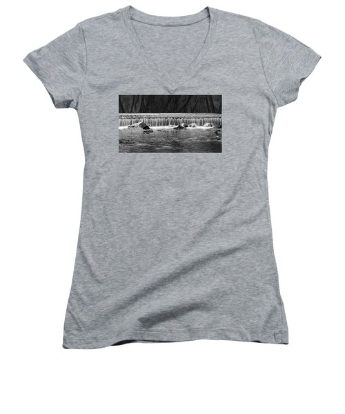 Waterfall004 Women's V-Neck T-Shirt (Junior Cut) by Dorin Adrian Berbier