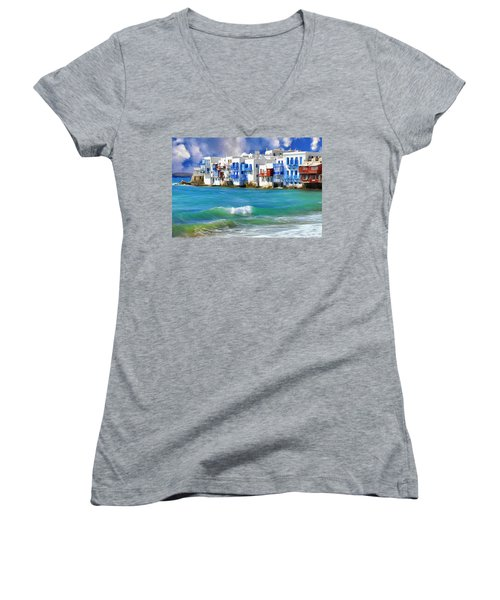 Waterfront At Mykonos Women's V-Neck