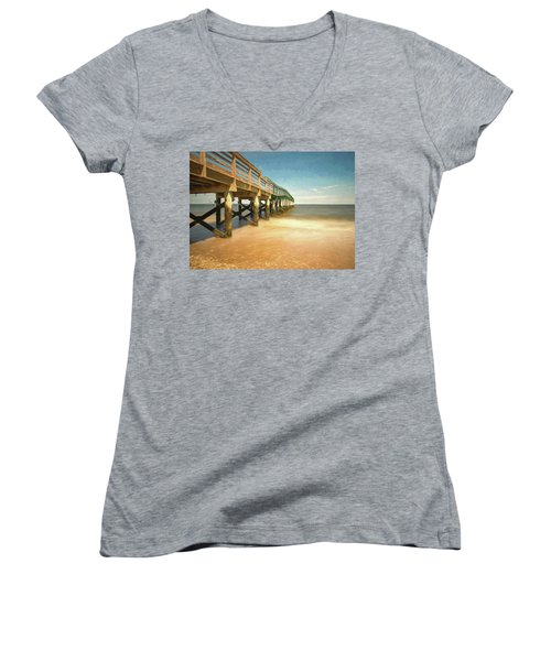 Women's V-Neck T-Shirt featuring the photograph Waterfront Park Pier 1 by Gary Slawsky