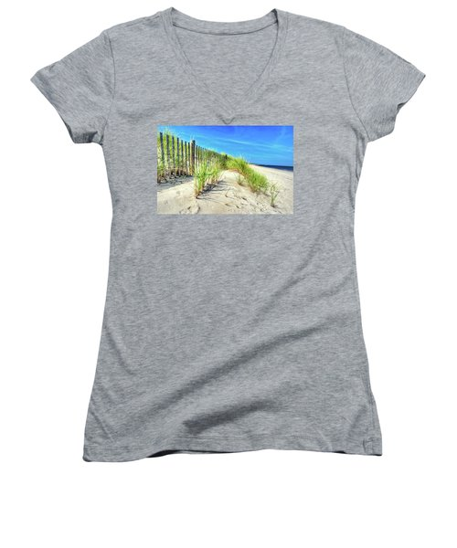 Women's V-Neck T-Shirt featuring the photograph Waterfront Sand Dune And Grass by Gary Slawsky