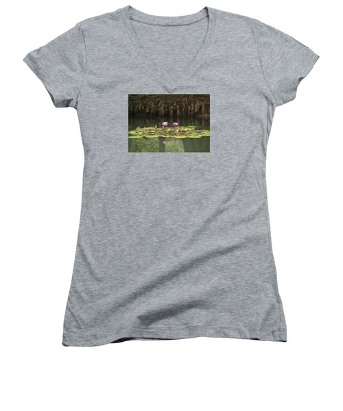 Women's V-Neck T-Shirt (Junior Cut) featuring the photograph Waterlilies And Cyprus Knees by Linda Geiger
