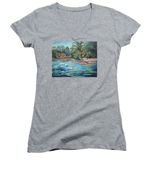 Waterlilies Pond In Tower Grove Park Women's V-Neck (Athletic Fit)