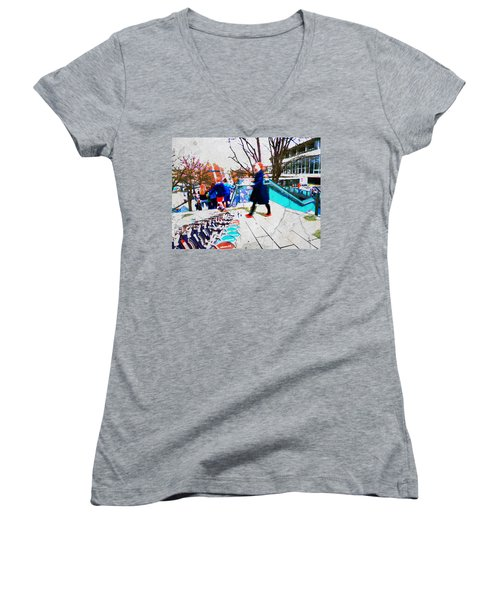 Waterloo Street Scene Women's V-Neck T-Shirt (Junior Cut) by Judi Saunders