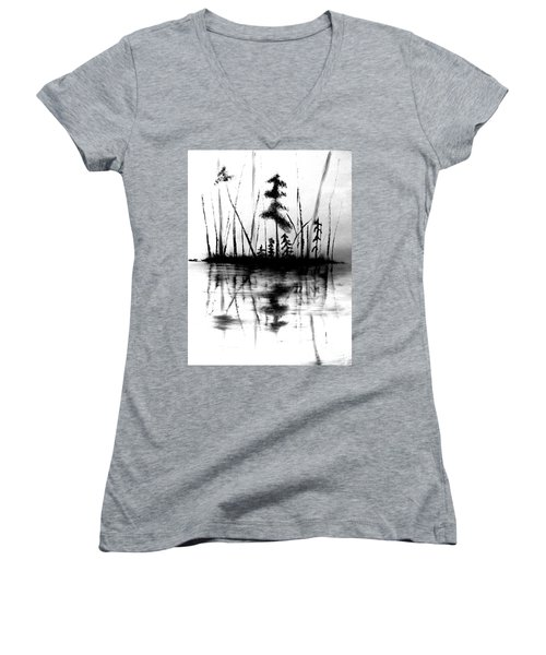 Women's V-Neck T-Shirt featuring the painting Waters Edge by Denise Tomasura