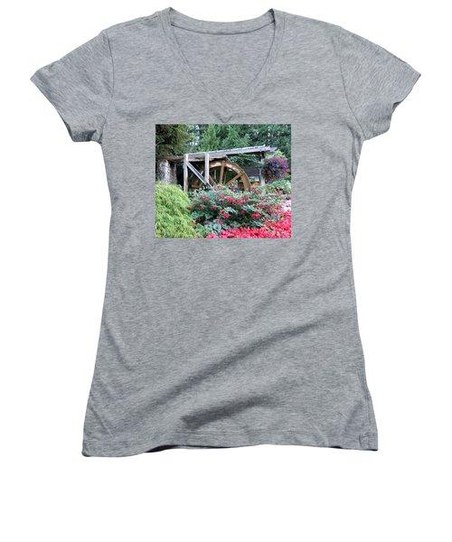 Waterwheel Women's V-Neck T-Shirt (Junior Cut) by Betty Buller Whitehead