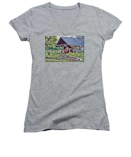 Waterwheel Women's V-Neck T-Shirt (Junior Cut) by Nicki McManus
