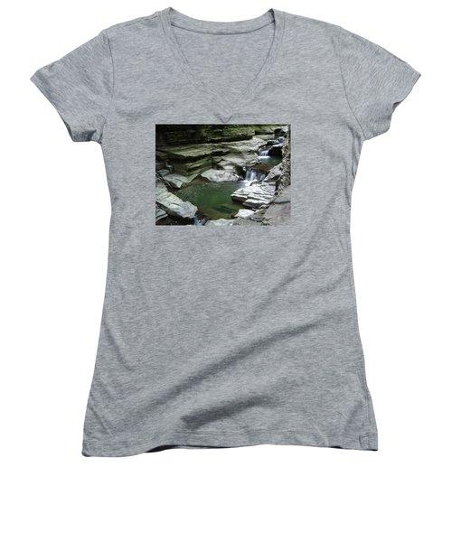 Women's V-Neck T-Shirt featuring the photograph Watkins Glen State Park by John Schneider