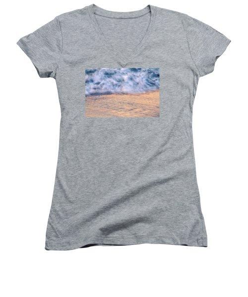 Women's V-Neck T-Shirt (Junior Cut) featuring the photograph Wave Abstract 3, Hoi An, 2014 by Hitendra SINKAR