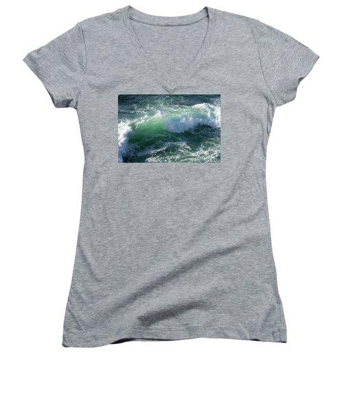 Wave At Montana De Oro Women's V-Neck T-Shirt (Junior Cut) by Michael Rock