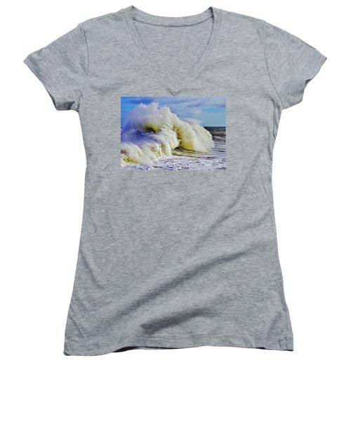 Moody Surf Women's V-Neck T-Shirt (Junior Cut) by Michael Cinnamond