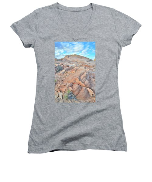 Wave Of Sandstone In Valley Of Fire Women's V-Neck T-Shirt (Junior Cut) by Ray Mathis