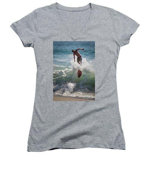 Wave Skimmer Women's V-Neck T-Shirt (Junior Cut) by Jim Gillen
