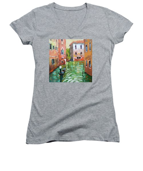 Wave Under The Oars Of The Gondola, City Scene. Women's V-Neck (Athletic Fit)