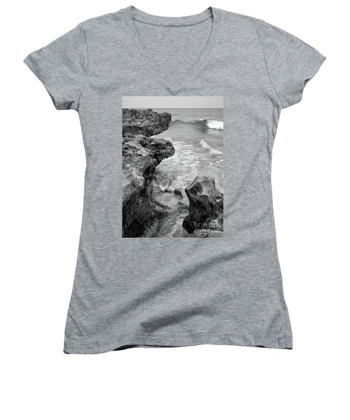 Waves And Coquina Rocks, Jupiter, Florida #39358-bw Women's V-Neck