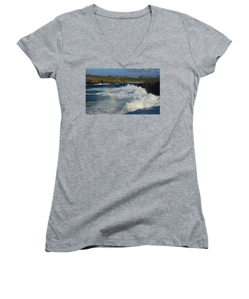 Waves And Rainbow At Clogher Women's V-Neck T-Shirt (Junior Cut) by Barbara Walsh