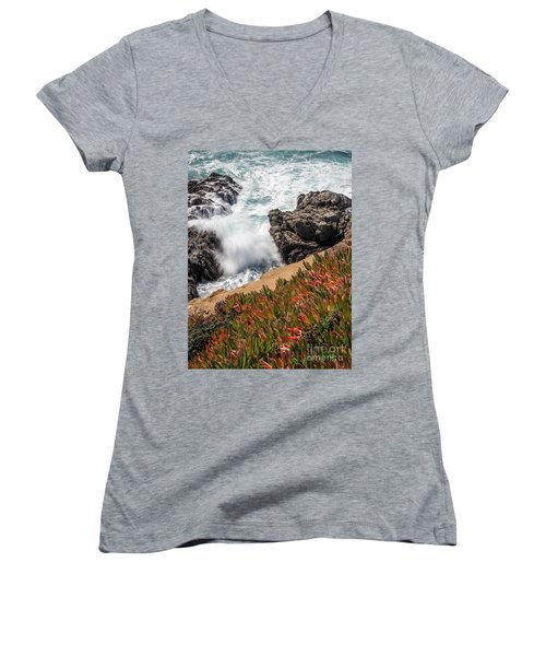 Waves And Rocks At Soberanes Point, California 30296 Women's V-Neck