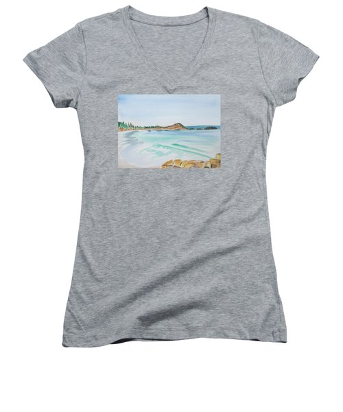 Women's V-Neck featuring the painting Waves Arriving Ashore In A Tasmanian East Coast Bay by Dorothy Darden