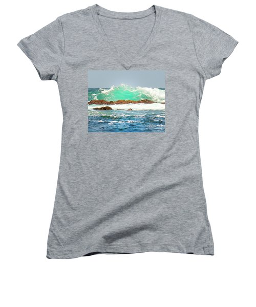 Waves At Pacific Grove California Women's V-Neck T-Shirt