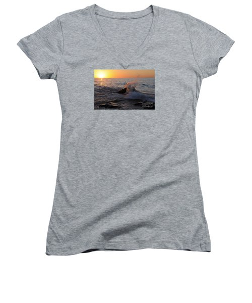 Women's V-Neck T-Shirt (Junior Cut) featuring the photograph Waves At Sunrise by Sandra Updyke