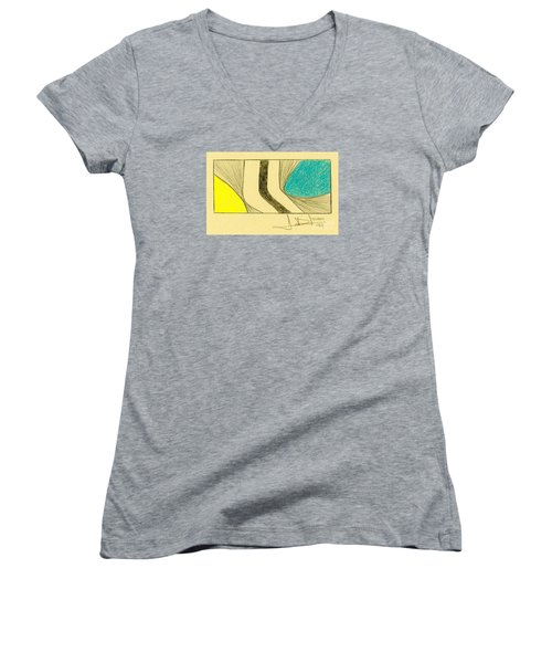 Waves Blue Yellow Women's V-Neck