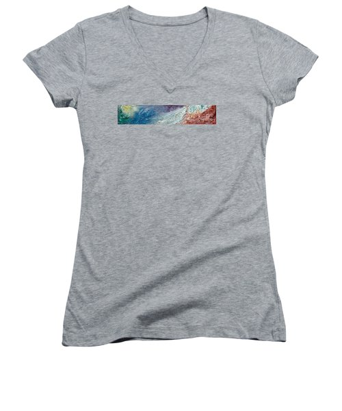 Waves Of Color Women's V-Neck T-Shirt (Junior Cut) by Gallery Messina