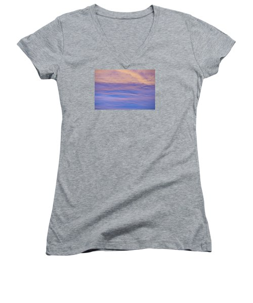 Women's V-Neck T-Shirt (Junior Cut) featuring the photograph Waves Of Color by Wanda Krack