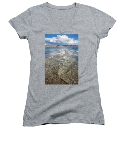 Women's V-Neck T-Shirt featuring the photograph Waves Of Namtso, Tibet, 2007 by Hitendra SINKAR