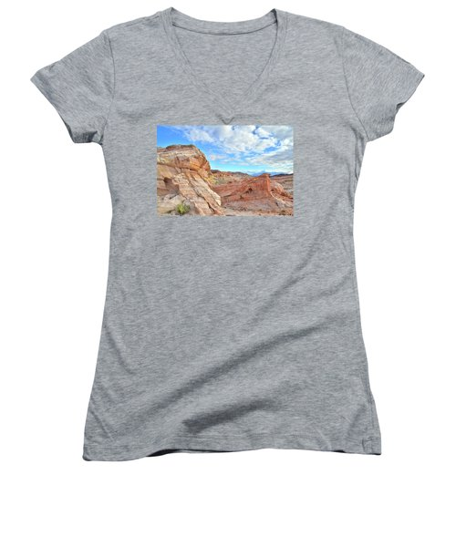 Waves Of Sandstone In Valley Of Fire Women's V-Neck T-Shirt (Junior Cut) by Ray Mathis