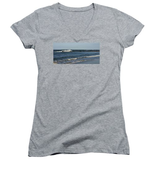 Women's V-Neck T-Shirt (Junior Cut) featuring the photograph Waves by Sandy Keeton