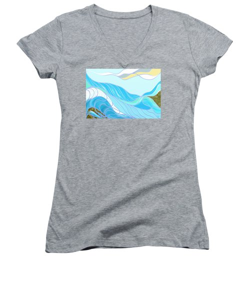Waves Women's V-Neck (Athletic Fit)
