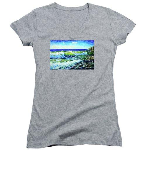 Waves Women's V-Neck T-Shirt (Junior Cut) by Viktor Lazarev