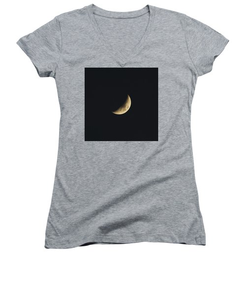 Waxing Crescent Spring 2017 Women's V-Neck T-Shirt (Junior Cut) by Jason Coward