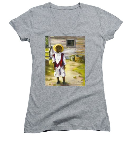 Women's V-Neck T-Shirt (Junior Cut) featuring the painting Way Out Of No Way by Marlene Book
