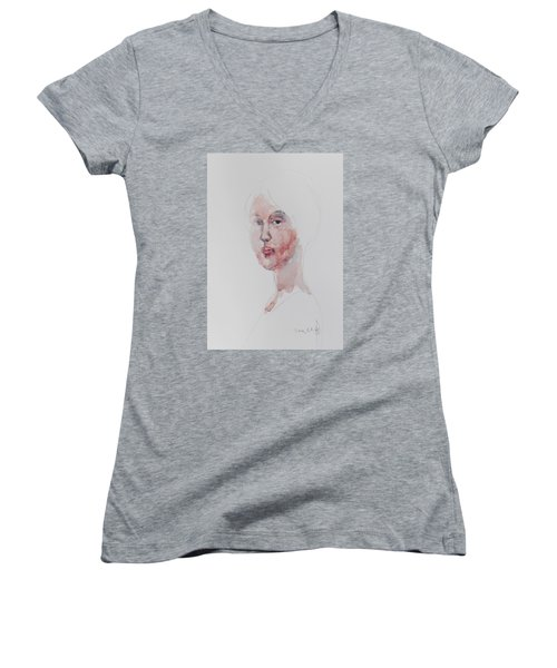 Women's V-Neck T-Shirt (Junior Cut) featuring the painting Wc Mini Portrait 1             by Becky Kim