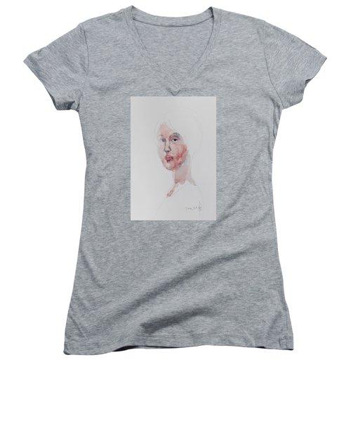 Wc Mini Portrait 1             Women's V-Neck T-Shirt (Junior Cut) by Becky Kim