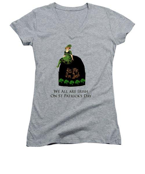 We All Irish This Beautiful Day Women's V-Neck T-Shirt (Junior Cut) by Asok Mukhopadhyay