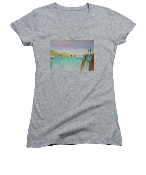We Are All The Same 1.1 Women's V-Neck T-Shirt (Junior Cut) by Tim Mullaney