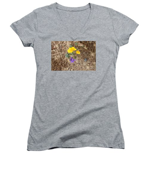 Women's V-Neck T-Shirt featuring the photograph We Are Family by Marie Neder