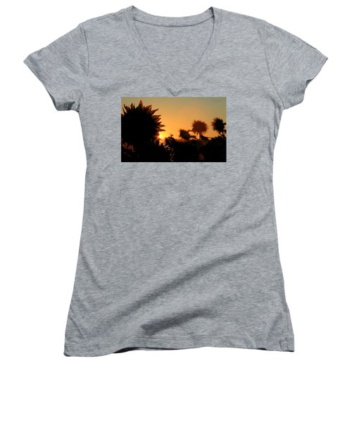 Women's V-Neck T-Shirt (Junior Cut) featuring the photograph We Are Sunflowers by Chris Berry
