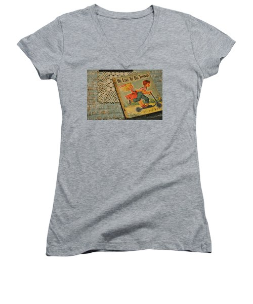 Women's V-Neck T-Shirt (Junior Cut) featuring the photograph We Like To Do Things by Jan Amiss Photography