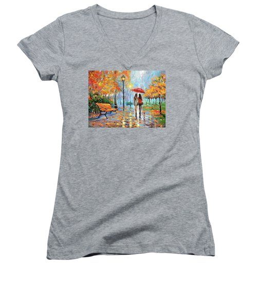 Women's V-Neck T-Shirt (Junior Cut) featuring the painting We Met In Park          by Dmitry Spiros