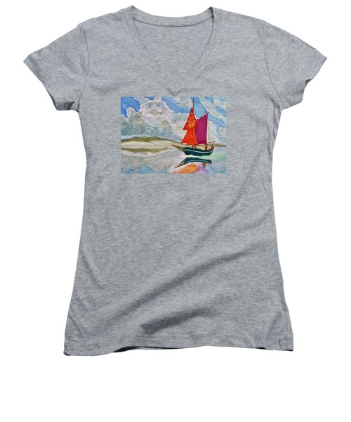 We Sailed Upon A Sea Of Glass Women's V-Neck T-Shirt (Junior Cut) by Rand Swift